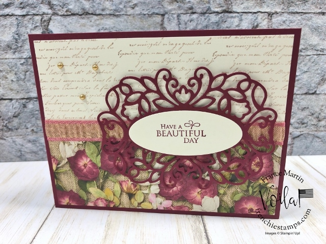 Detailed Band with Very Versailles. Great combination all together. All supplies by stampin'Up! available at frenchiestamps.com #stampinup #stamping #frenchiestamps #cardmaking #papercrafts #handmadecards #detailedbandsdies