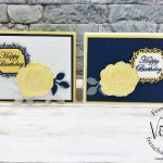 Using the Ornate Frames Die with the Healing Hugs and Magnolia Blooms stamp sets. Night of Navy and Daffodil for a striking color combo.