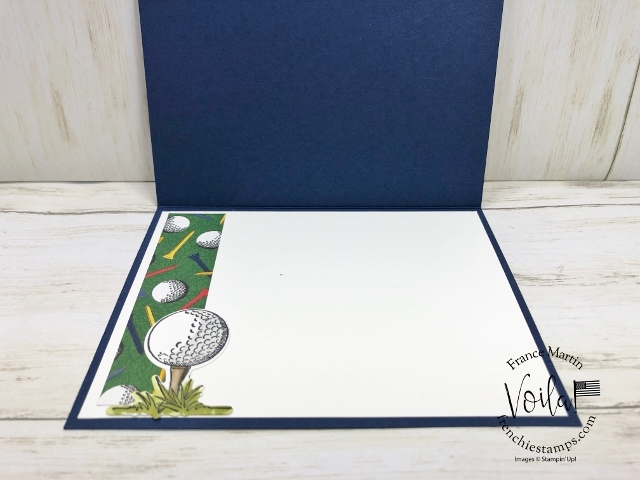 Golf card with Hand-Lettered Prose Dies and golf ball corner pock all take place on this card.