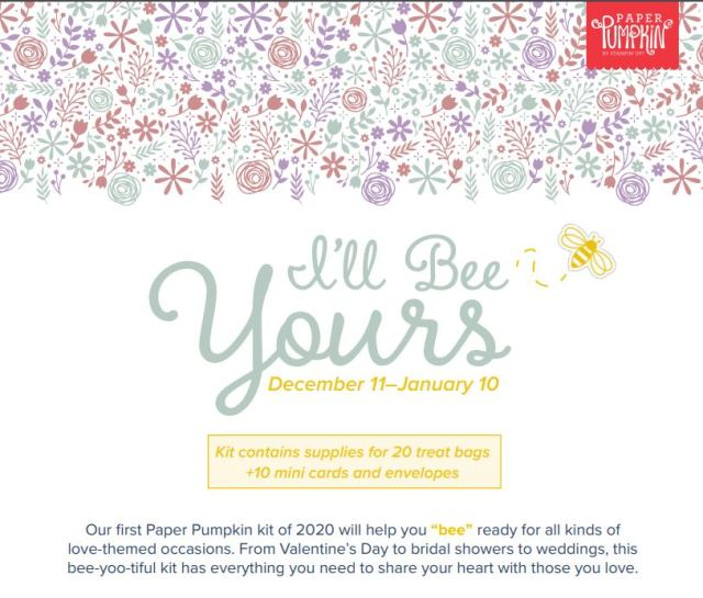 Paper Pumpkin I'll Bee Yours January 2020 kit. Extra ideas to use stamp set included in paper pumpkin kits