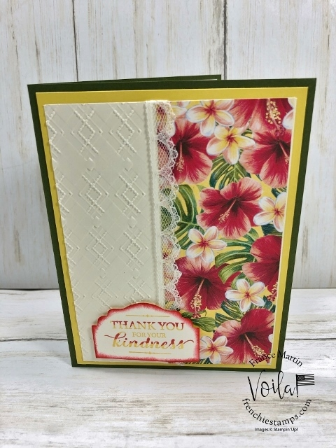 Simple card with the Tropical Oasis  Designer paper, Layered with Kindness stamp set and Embossing folder the Coastal Weave or the Absolutely Argyle  embossing Folder.