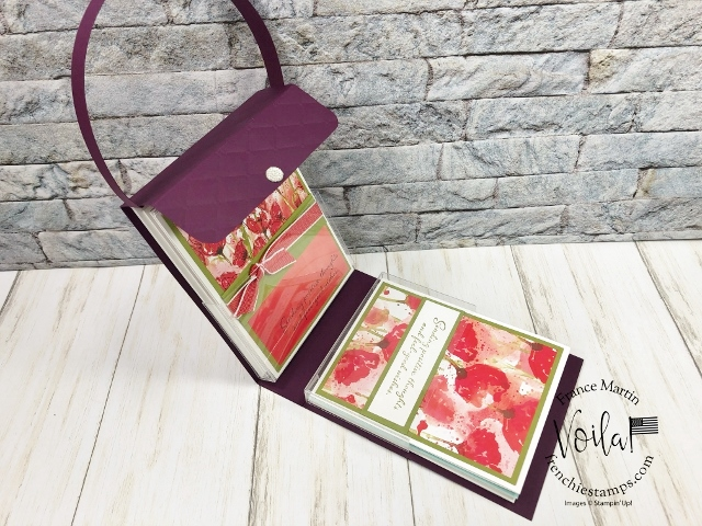 Flip purse to hold cards. Peaceful Poppies Designer paper give this purse a wow look.