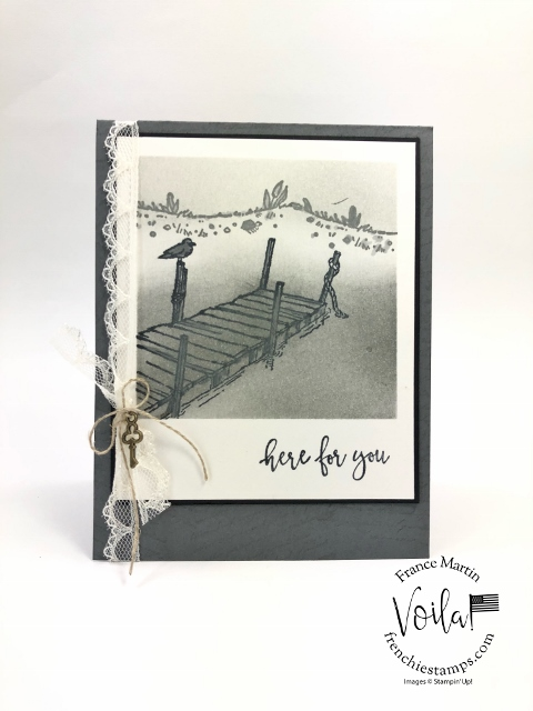 Polaroid Card with By The Dock stamp set.