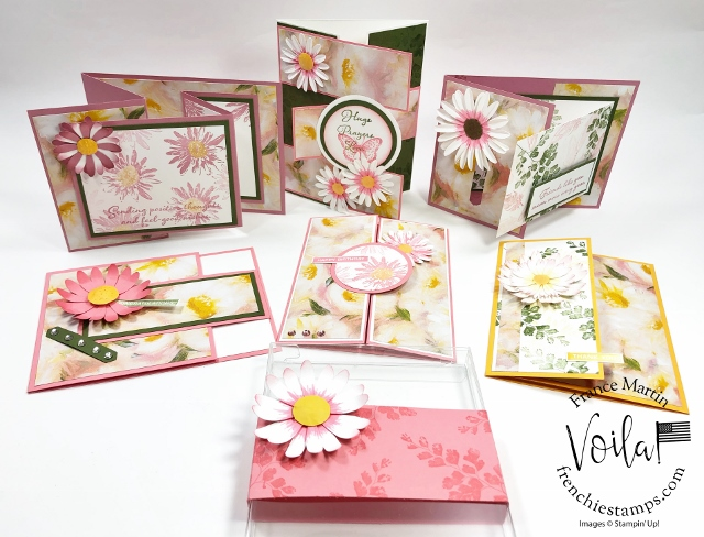 One sheet Wonder and Fun Fold Class. How to make 6 cards with one sheet of the Perennial Essence Designer Paper.