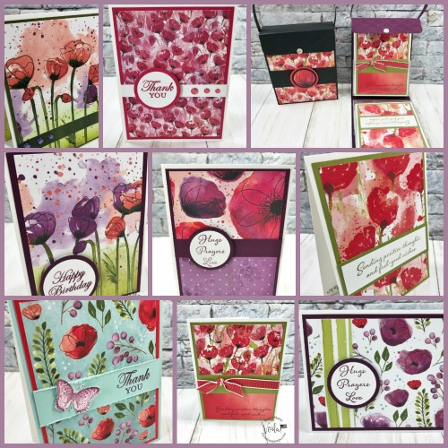 A collection of card with the Peaceful Poppies Designer paper.