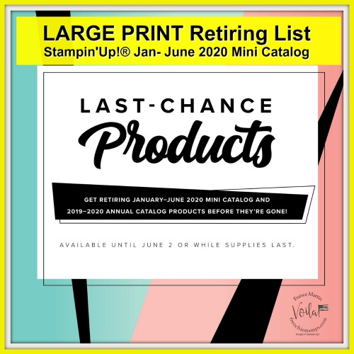 Large Print of Stampin'Up! Retiring product of the 2020 Jan- June mini catalog
