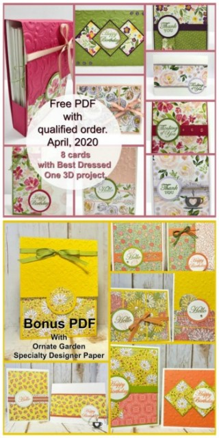Frenchie's Customer Appreciation for April 2020. A One Sheet wonder to make 8 card plus a box to hold cards. Designer Paper is the Bess Dresses.