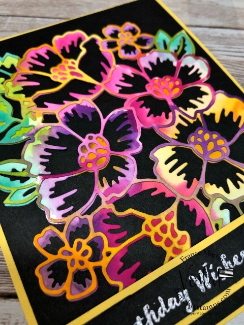 Tie-Die on Watercolor paper and die cut with Many Layered Blossoms Dies.