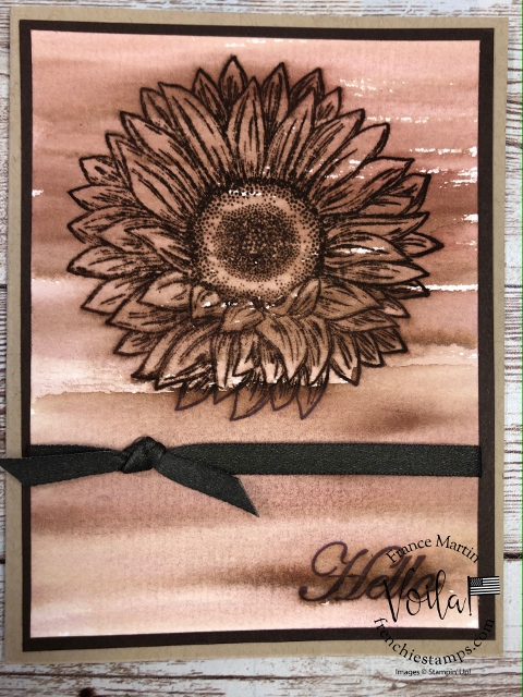 Faux Wood Burning Technique with Celebrate Sunflower and Pinewood Planks embossing folder.