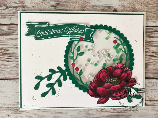 Tasteful Touches and Bird and More shaker card. Christmas card in July.