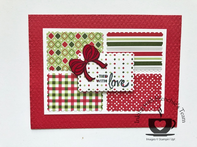 Holiday Catalog stamps and product showcase with Frenchie' Team.