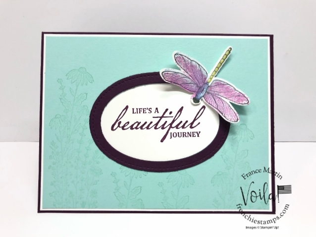 Simple Card with Beautiful World and Dragonfly Garden.