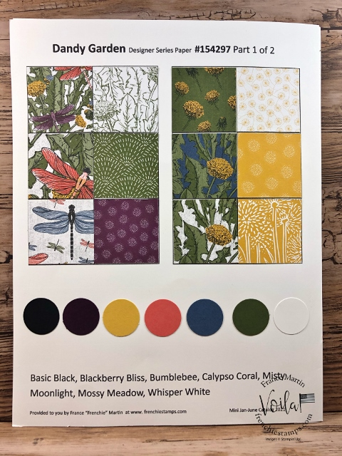 Designer Paper 2021   Dandy Garden chart with coordination colors.
