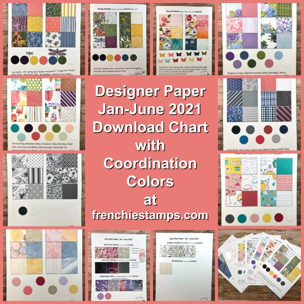 Designer Paper Chart for the Jan-June 2021Stampin'Up! Mini catalog.