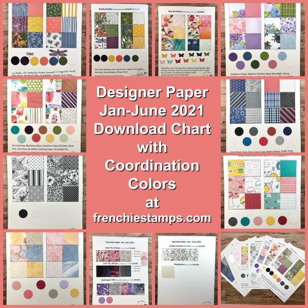 Designer Paper Chart for the Jan-June 2021Stampin'Up! Mini catalog.