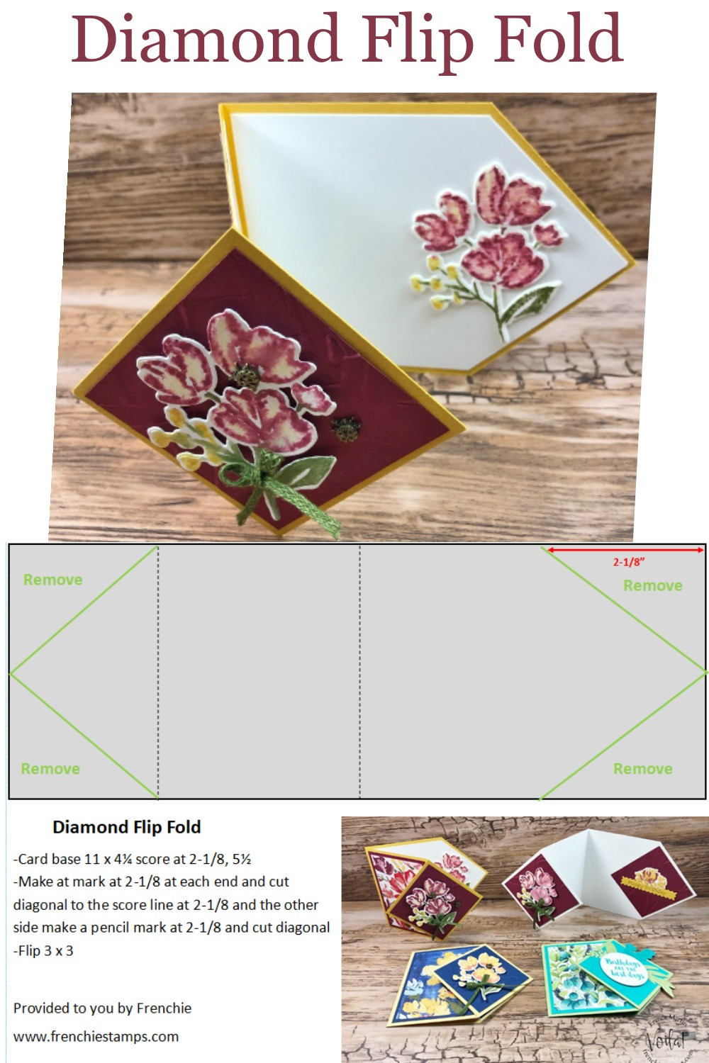 Diamond Flip Card With The Stamp Set Art Gallery.