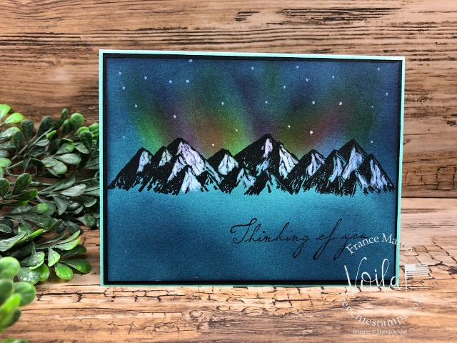 Northern Light On Color Cardstock. Stamp set  Mountain Air.