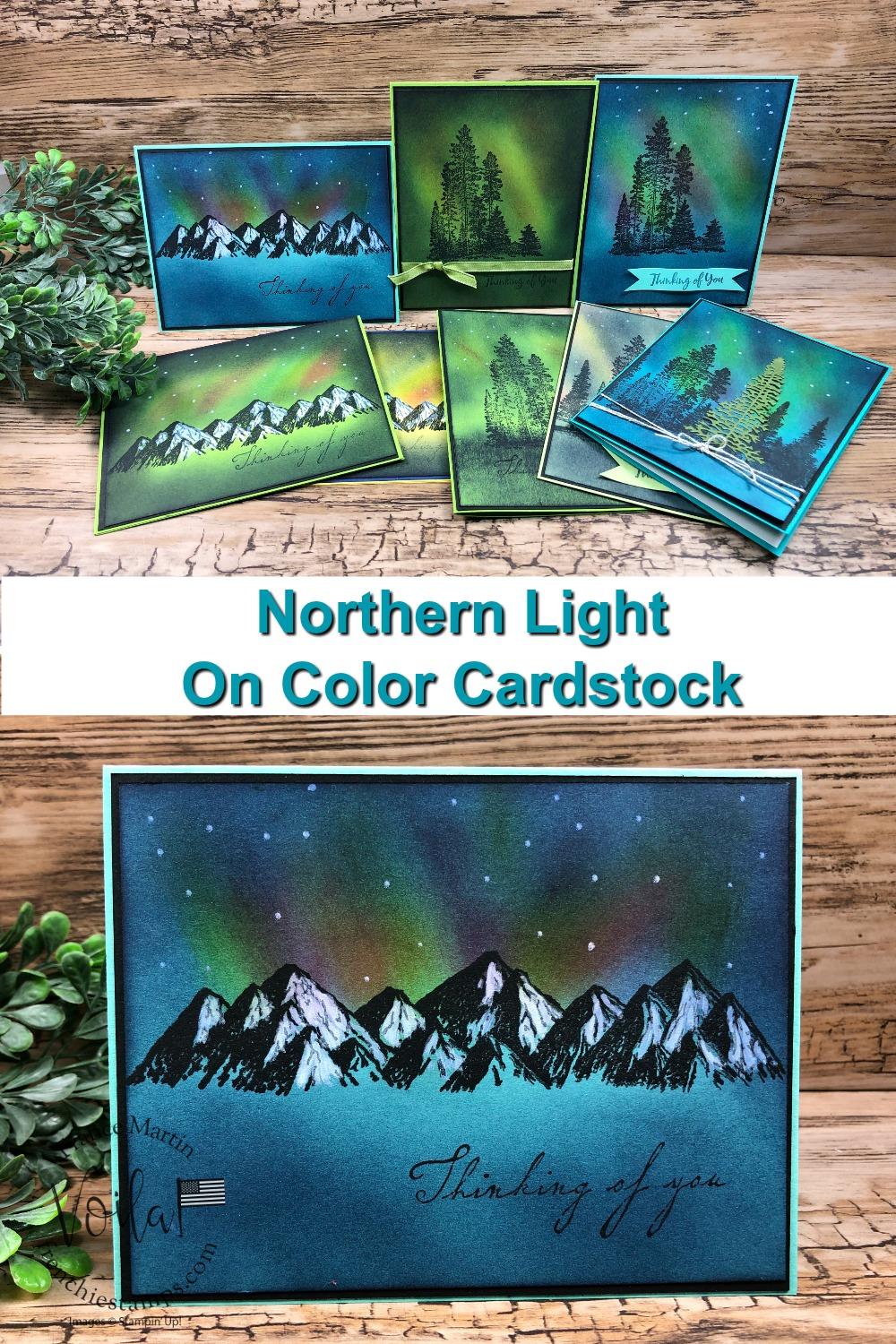 Northern Light On Color Cardstock, Stamp Set Campology And Mountain Air