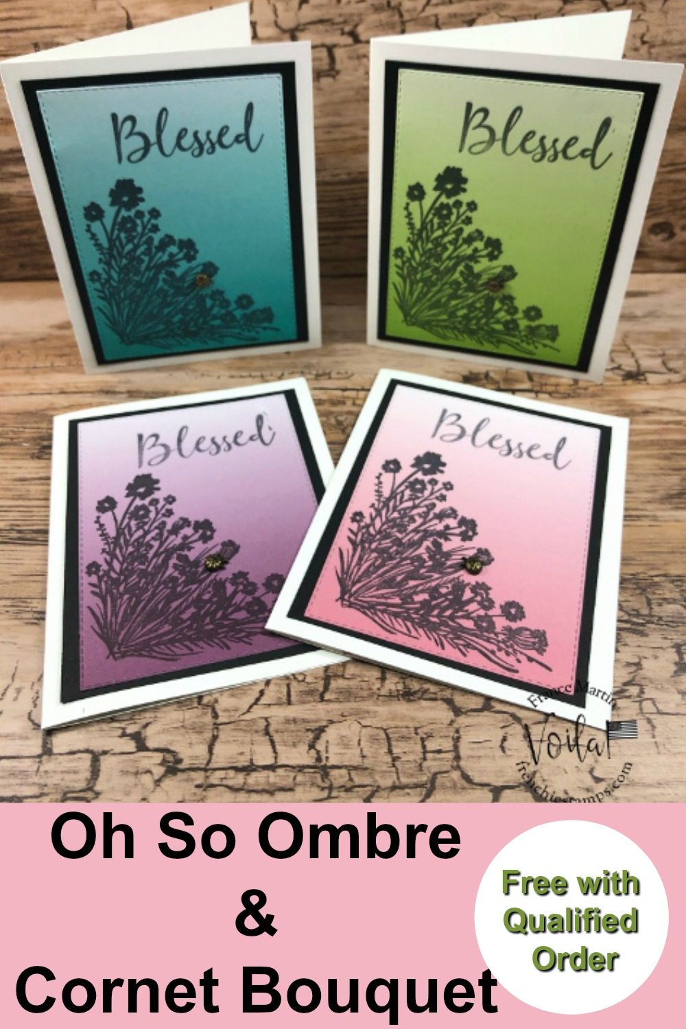 Simple Card With the On So Ombre Paper and Corner Bouquet Stamp Set