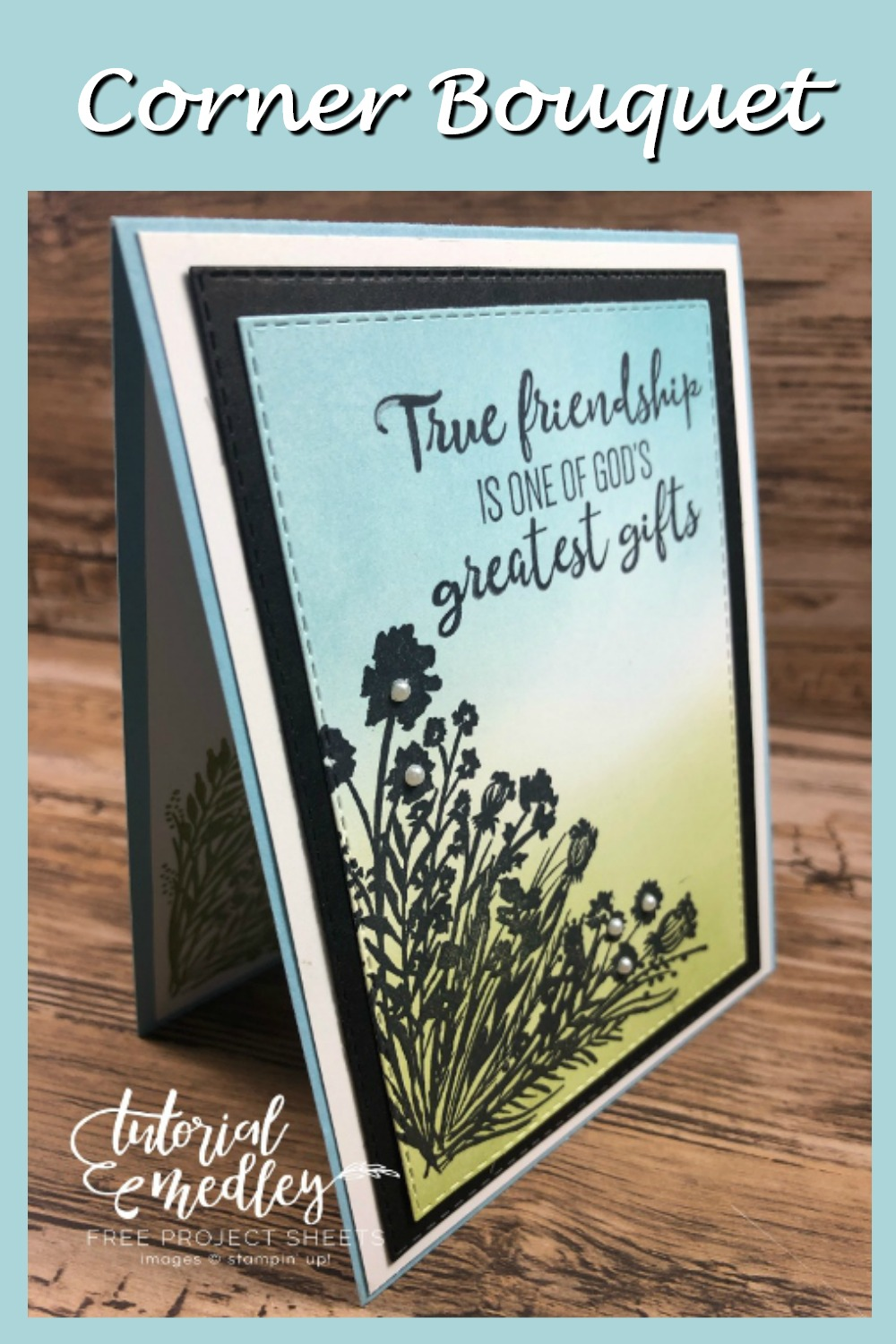 Simple Scenery Card With Corner Bouquet And Blending Brushes