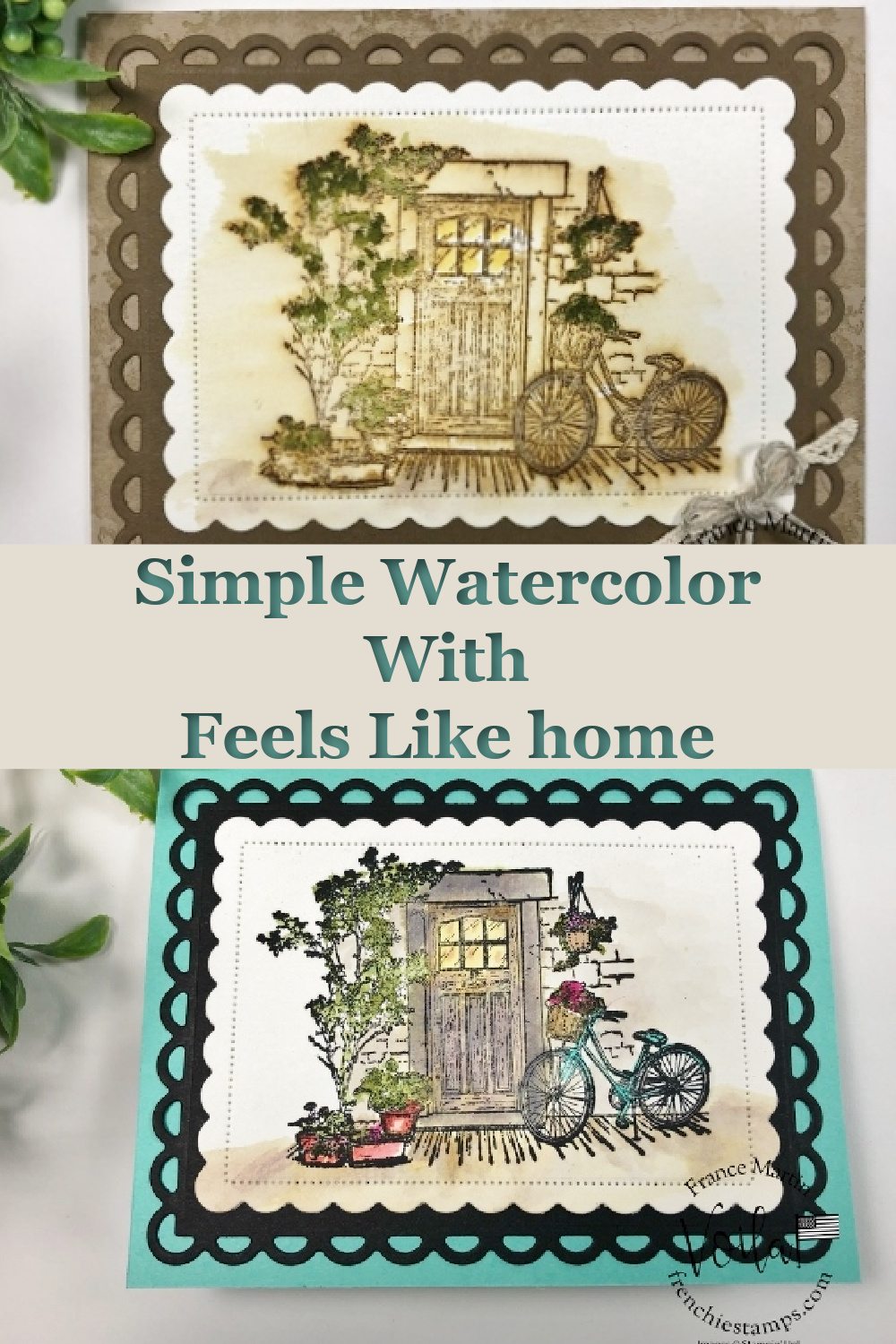 Simple Vintage Watercolor Card with Feels Like Home stamp set