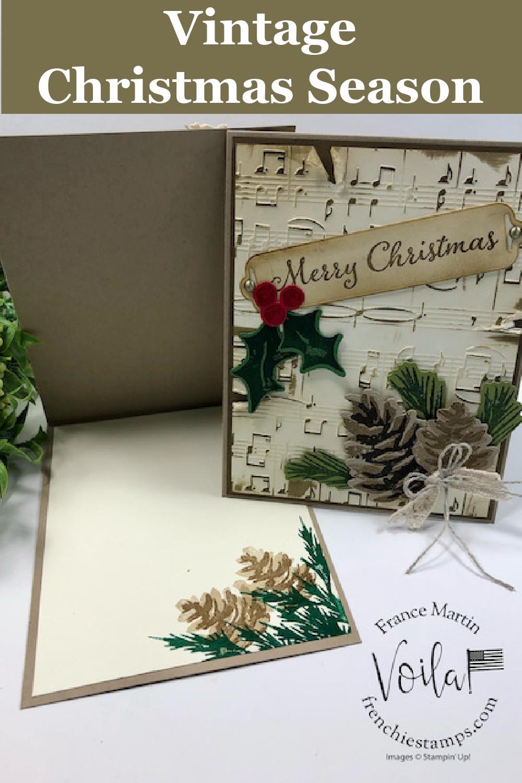 Beautiful Vintage Christmas card with Christmas Season Stamp Set