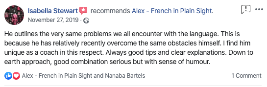 """""""He outlines the very same problems we all encounter with the language. This is because he has relatively recently overcome the same obstacles himself. I find him unique as a coach in this respect. Always good tips and clear explanations. Down to earth approach, good combination serious but with sense of humour."""" - Isabella Stewart"""