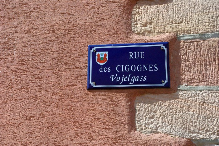 Street name in Bergheim (The white storks Street) © French Moments