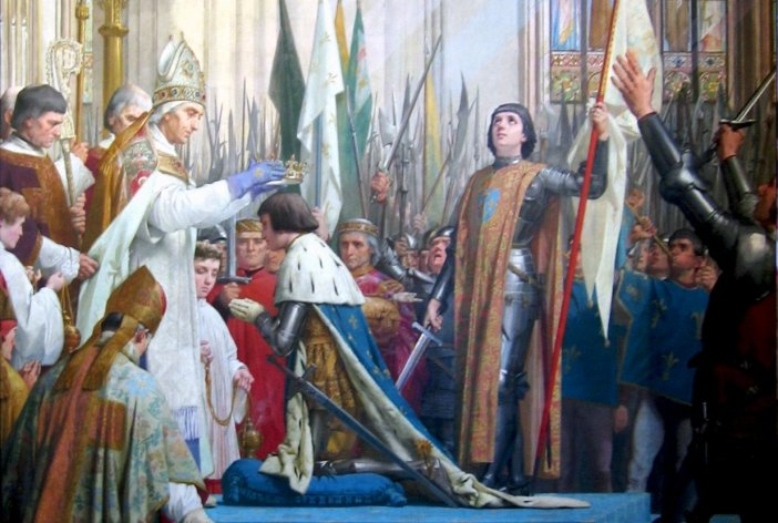 Coronation of Charles VII in Reims in the presence of Joan of Arc. Painting by by E. Lenepveu