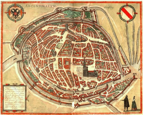 Map of Strasbourg in the Middle Ages