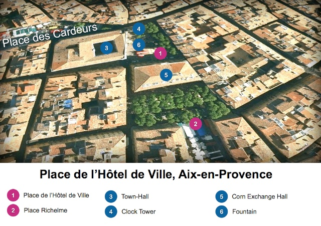 Map of Place de l'Hôtel de Ville, Aix-en-Provence