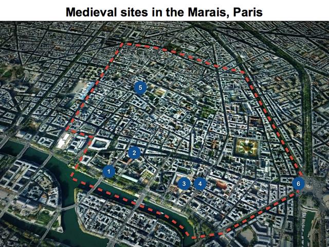 Marais Map of medieval sites