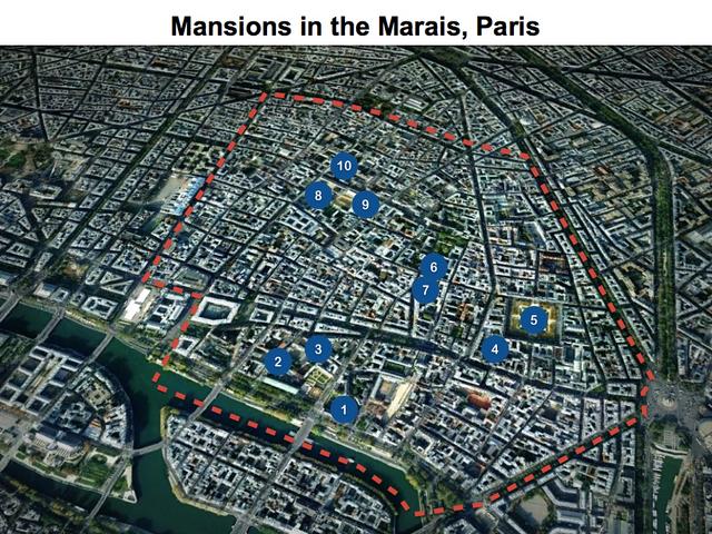 Marais Map of Hôtels Particuliers