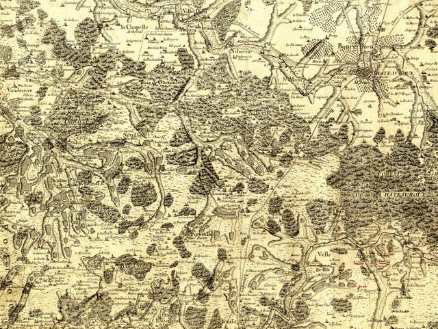 Cassini Map of the Brenne 18th century