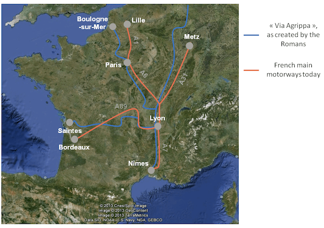 Map of French main motorways, compared to the ancient Via Agrippa