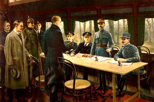 The signature of Armistice in Rethondes.