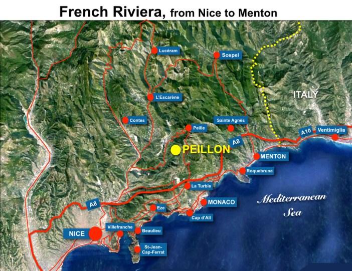 Peillon Situation Map