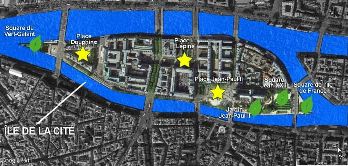 Ile de la Cité Places et Parcs