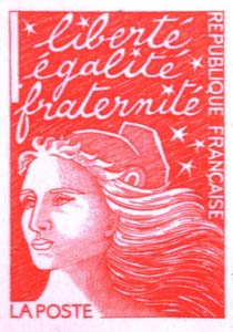 French stamp representing Marianne and the French motto