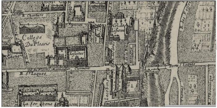 Rue Saint-Jacques, Map of Gomboust - 1652