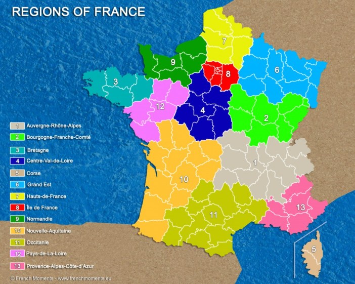 Regions of France General Map June 2016 copyright French Moments