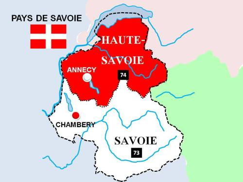 Map of departement of Savoie and Haute-Savoie