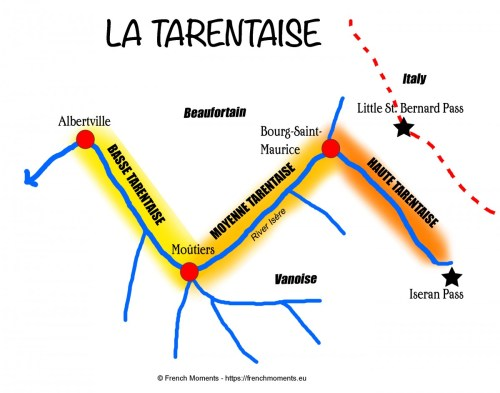 Map of Tarentaise copyright French Moments