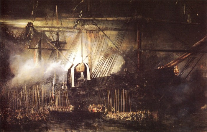 Loading the remains of Napoleon onto the Belle Poule, 15th October 1840. Painting by Eugène Isabey