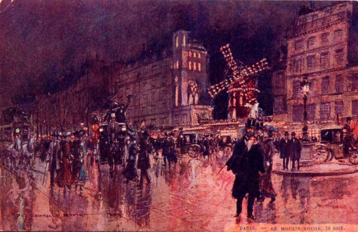 Moulin Rouge by night. Postcard by Georges Stein c.1910