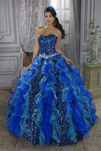 Quinceanera Collection Sequin Organza Dress By House Of Wu