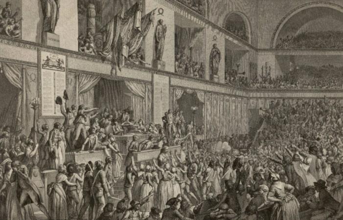 Popular uprising in Paris demanding Bread and Constitution (Revolt of 1 Prairial Year III).