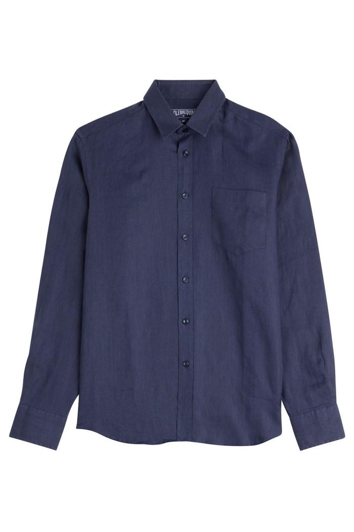 Vilebrequin navy blue linen shirt