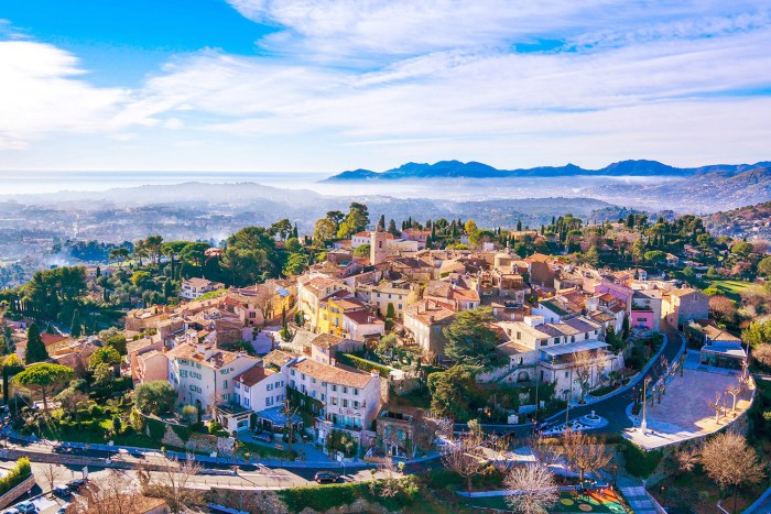 Panorama of Mougins village above Cannes, France