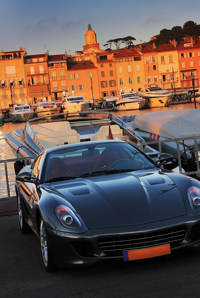 Ferrari in the port of St Tropez, France